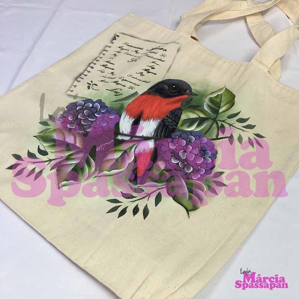 Bolsa Sacola com Pássaros e Hortênsias