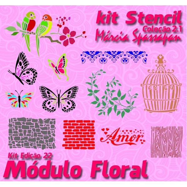 Kit Stencil Márcia Spassapan | Módulo Floral - Edição 22