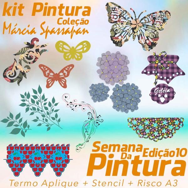 Kit Pintura Coleção Márcia Spassapan | Semana Da Pintura - Edição 10 - Termo Aplique + Stencil + Risco A3