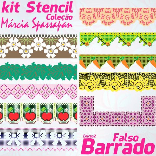 Kit Stencil Coleção Márcia Spassapan | Falso Barrado - Edição 2