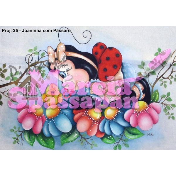 Projeto para Pintura com Foto e Risco Joaninha com Pássaro - Proj. 25