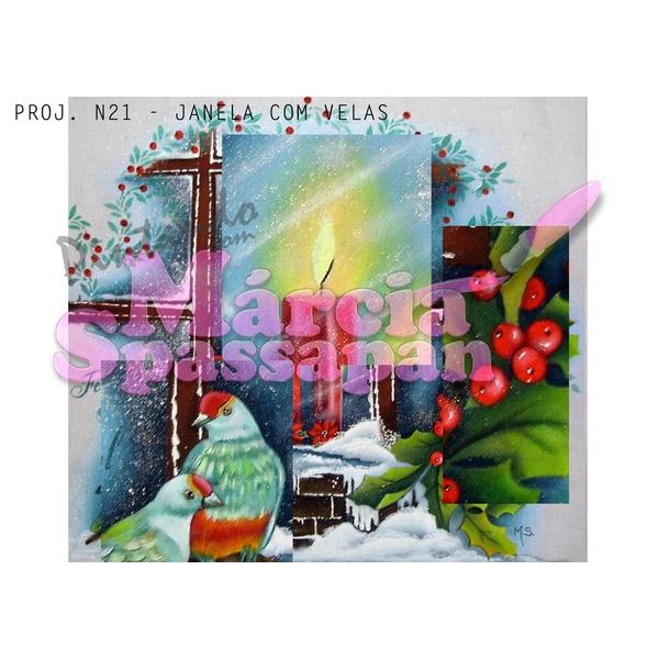 Projeto para Pintura com Foto e Risco Natal Proj. N21 - Janela com Velas