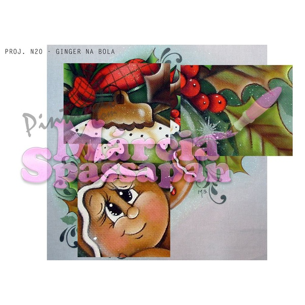 Projeto para Pintura com Foto e Risco Natal Proj. N20 - Ginger na Bola