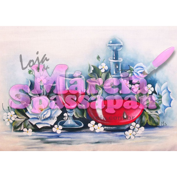 Projeto para Pintura com Foto e Risco Jarro de Vinho com Rosas Ed.3