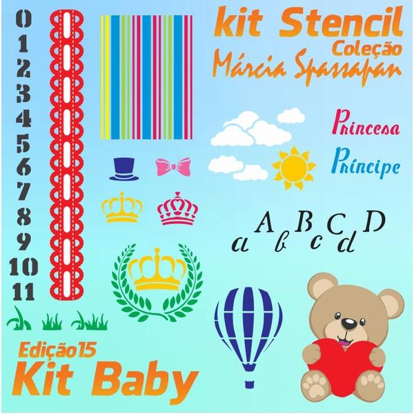 Kit Stencil Coleção Márcia Spassapan   Kit Baby - Edição 15 + 6 Aulas + Risco A4