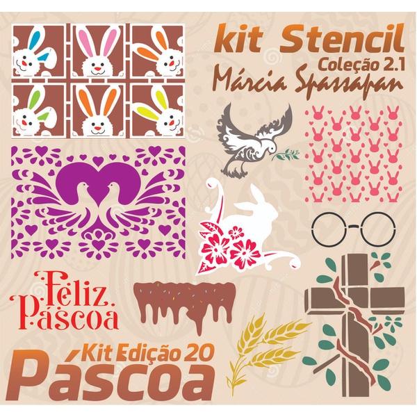 Kit Stencil Coleção Márcia Spassapan   Especial de Páscoa 2021 - Edição 20