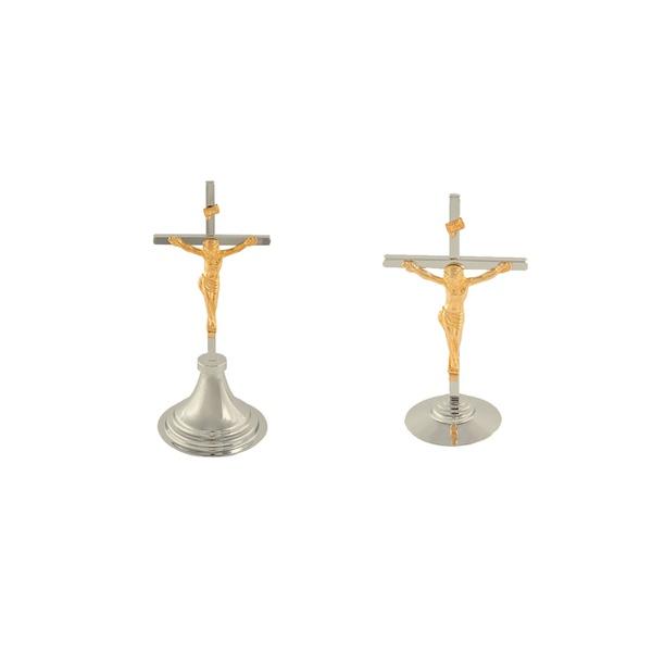 Crucifixo de Mesa Cromado com INRI Dourado 15cm