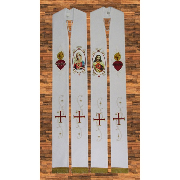 Estola Sagrado e Imaculado Coração de Jesus – Santo Bordada 1 face c/ franja