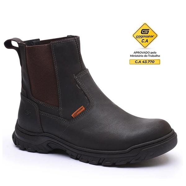 Bota Chelsea EPI CA Casual Gogowear 100% Couro ref Carbon cor Café