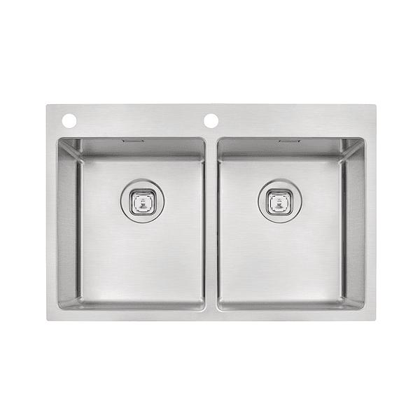Cuba de Sobrepor Tramontina Design Collection Quadrum Flush em Aço Inox com Acabamento Scotch Brite 77x51 cm com 2 Cubas