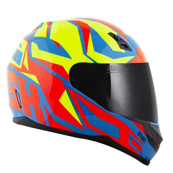 CAPACETE NORISK STUNT FF391 CUTTING LIGHT BLUE/YELLOW/RED