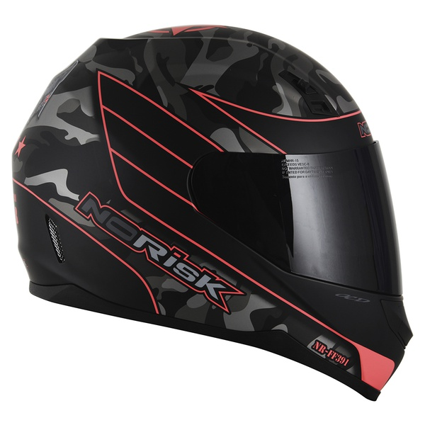 CAPACETE NORISK STUNT FF391 WAR MATT BLACK/ORANGE