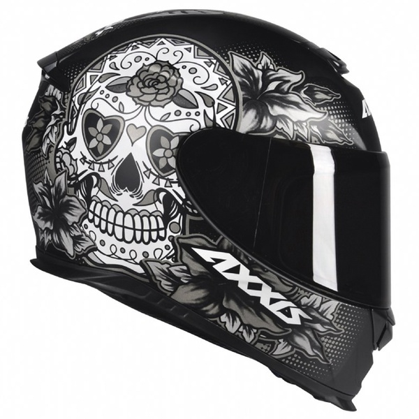 CAPACETE AXXIS EAGLE SKULL MATT BLACK-GREY