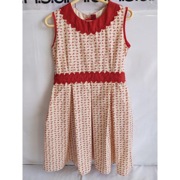 Vestido Infantil Floral com Vermelho