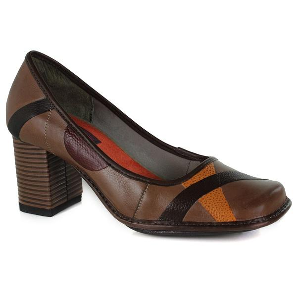 Sapato Galeany Alto Em Couro Amêndoa J.Gean OUTLET