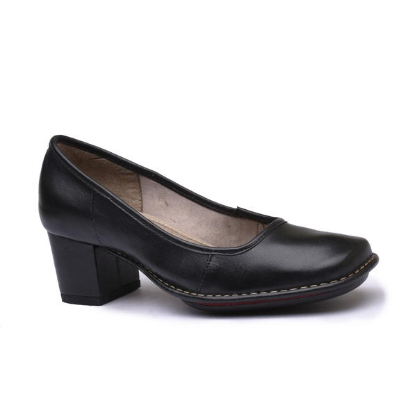 Sapato em Couro Galeany Médio Preto J.Gean