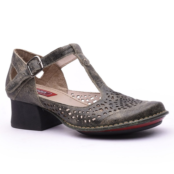 Sapato New Kelly Oliva Em Couro J.Gean