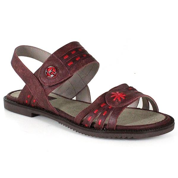 Sandália Rasteira Em Couro Ariane Vermelha J.Gean Outlet