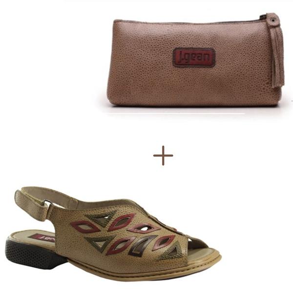 Sandália Maitê C Em Couro Taupe + Bolsa de Mão Aveia J.Gean