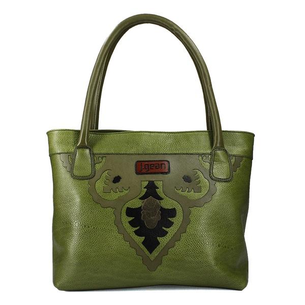 Bolsa Artesanal Em Couro E Casco Verde J.Gean