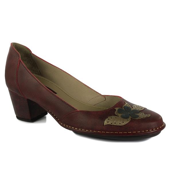 Sapato Ibizza Médio Em Couro Bordô J.Gean