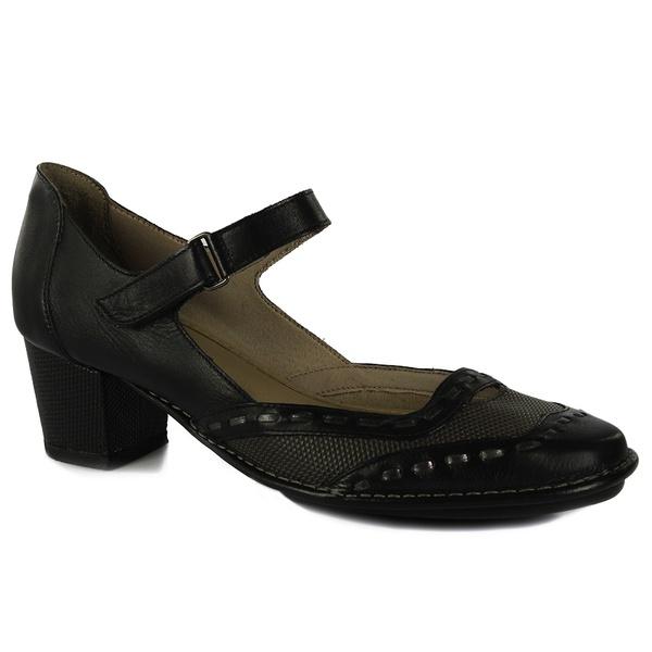 Sapato Ibizza Médio Em Couro Preto J.Gean