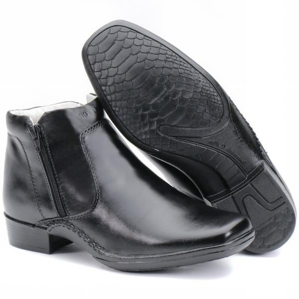 Calçado Bota Masculina Confort Em Couro Preto Kéffor New Confort