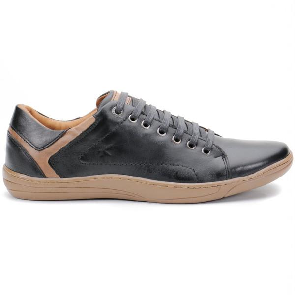 Calçado Sapatênis Casual Em couro Preto Espumado Kéffor Fênix