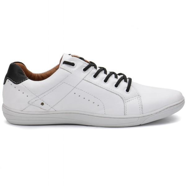 Calçado Sapatênis Casual Masculino Em Couro Branco Kéffor Linha Fênix