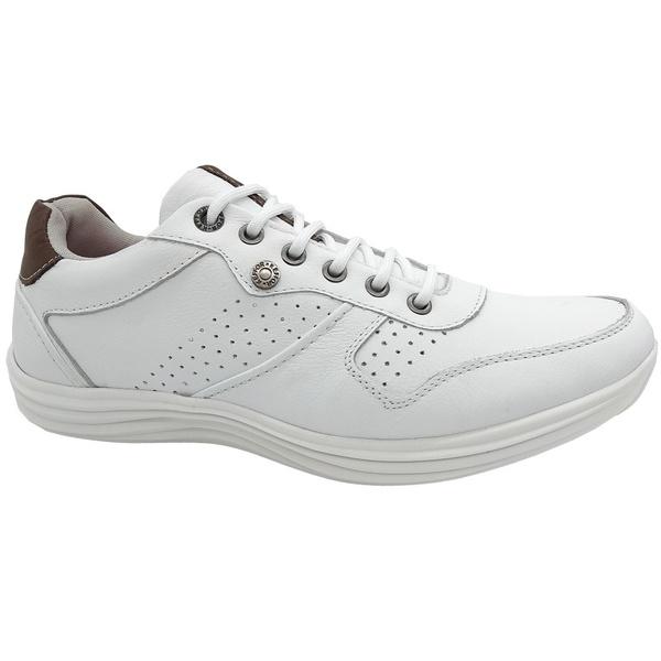 Calçado Masculino Sapatênis Em Couro Kéffor Cor Branco Linha Sevilha