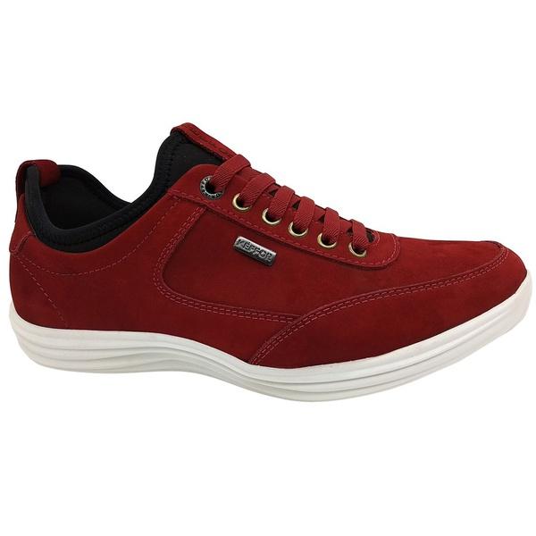 Calçado Masculino Sapatênis Casual Em Couro Kéffor Cor Vermelho Linha Sevilha