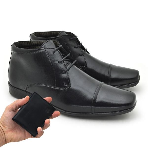 Sapato Social Masculino Fortaleza Couro Preto - Carteira Grátis