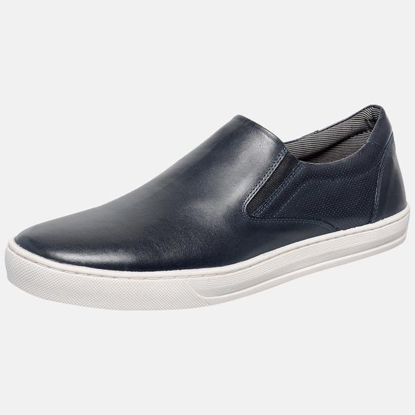 Sapatênis Iate Em Couro Mega Boots 15036 Marinho
