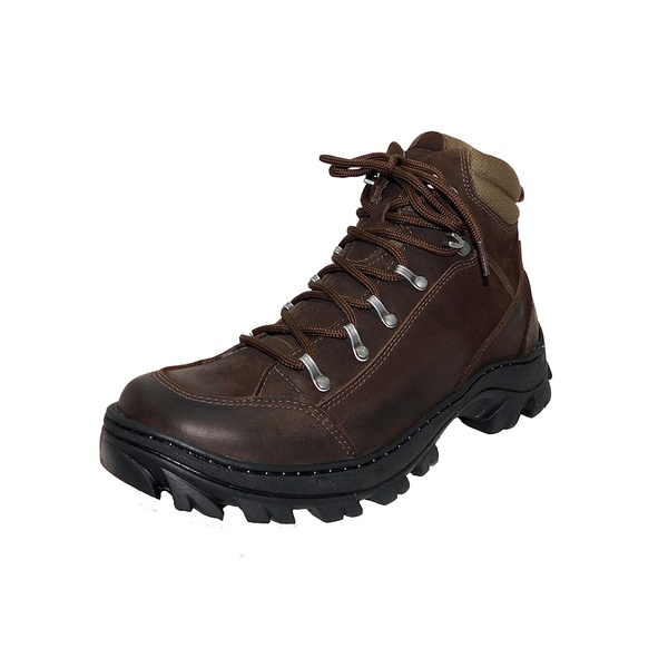 Bota Coturno Adventure em couro Mega boots 17003 Cafe
