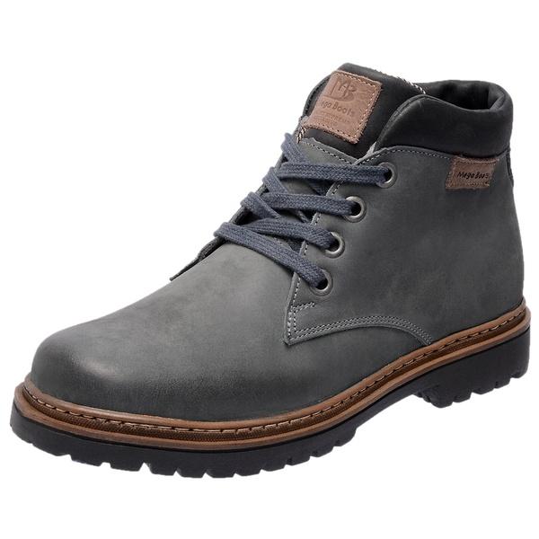 Bota Coturno em couro Mega Boots 6018 Cinza-Preto