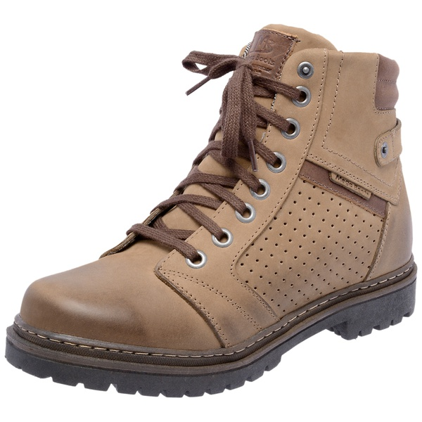Bota Coturno em couro Mega Boots 6021 Kaki-Café