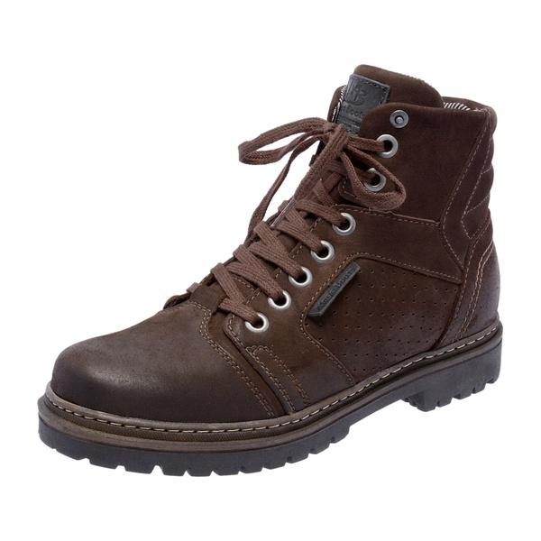 Bota Coturno em couro Mega Boots 6022 Café-Preto