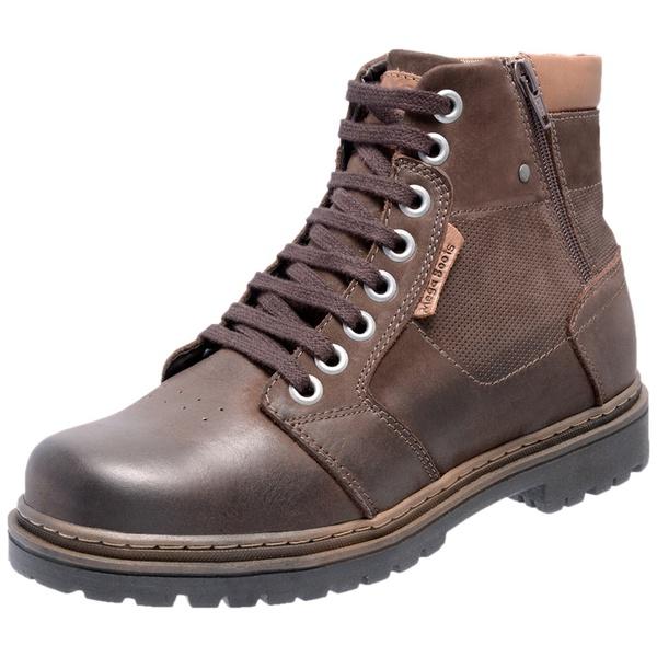 Bota Coturno em Couro Mega Boots 6027 Café-D.Leite