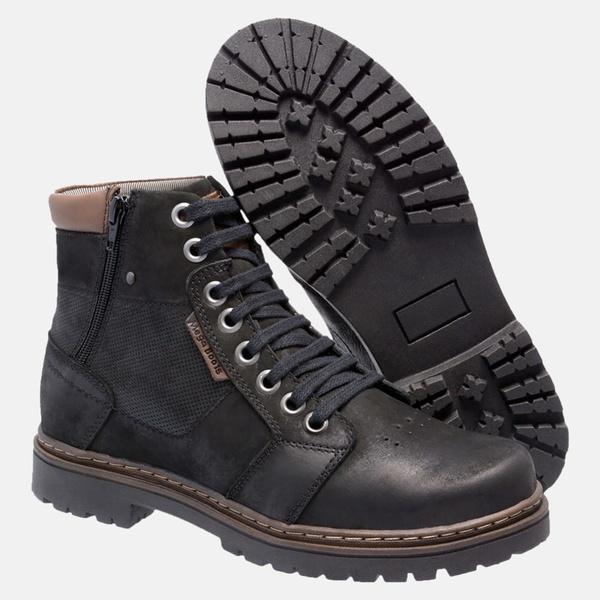 Bota Coturno em Couro Mega Boots 6027 Preto-Chocolate
