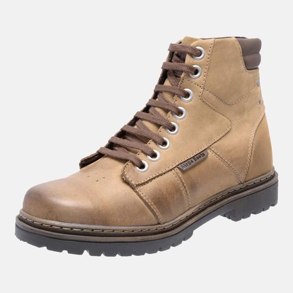 Bota Coturno em Couro Mega Boots 6028 Kaki-Cafe