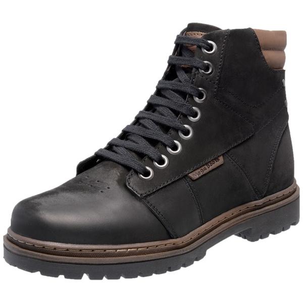 Bota Coturno em Couro Mega Boots Preto-Chocolate