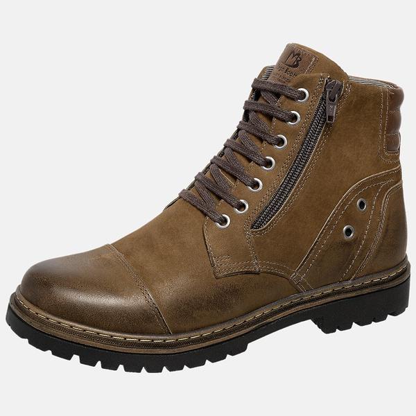 Bota Coturno em Couro Mega Boots 6034 Chumbo-Cafe