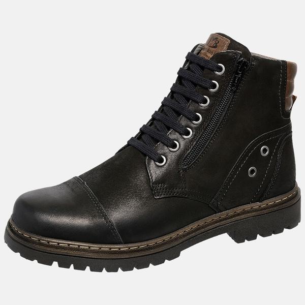 Bota Coturno em Couro Mega Boots 6034 Preto-Cafe