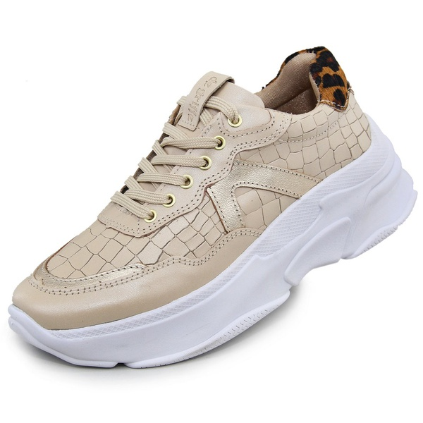 Tênis Sneaker Feminino em Couro Perola-Onça
