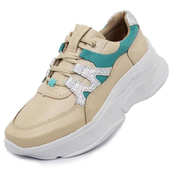 Tênis Sneaker Feminino em Couro Perola