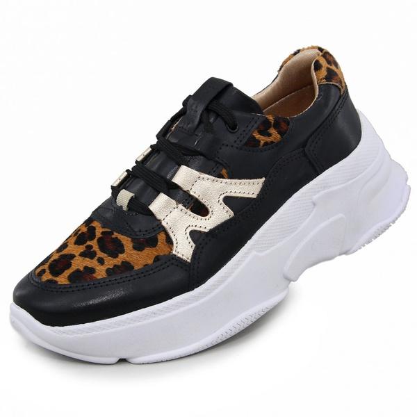 Tênis Sneaker Feminino em Couro 2002 Preto-Onca-Gold