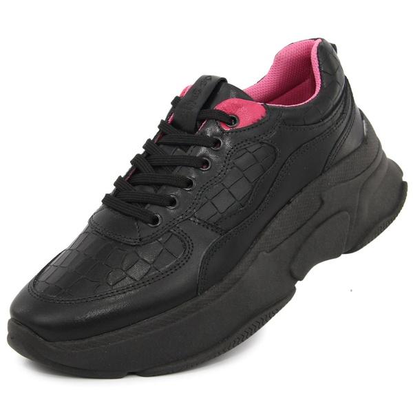 Tênis Sneaker Feminino em Couro Preto