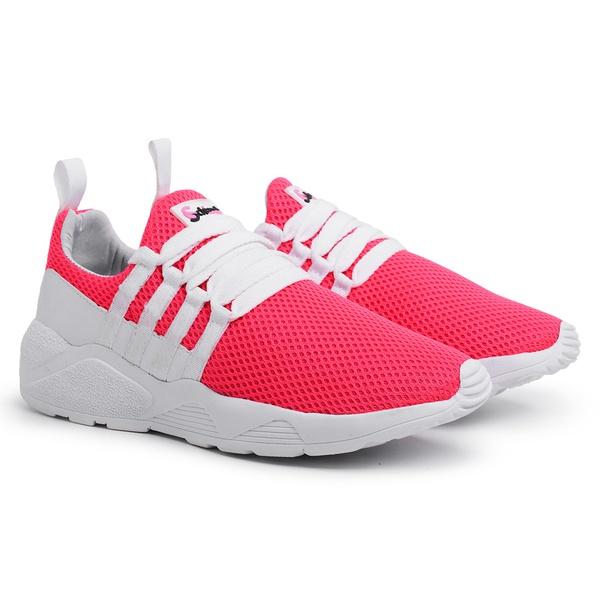Tênis Esportivo Feminino Rosa-Branco 490