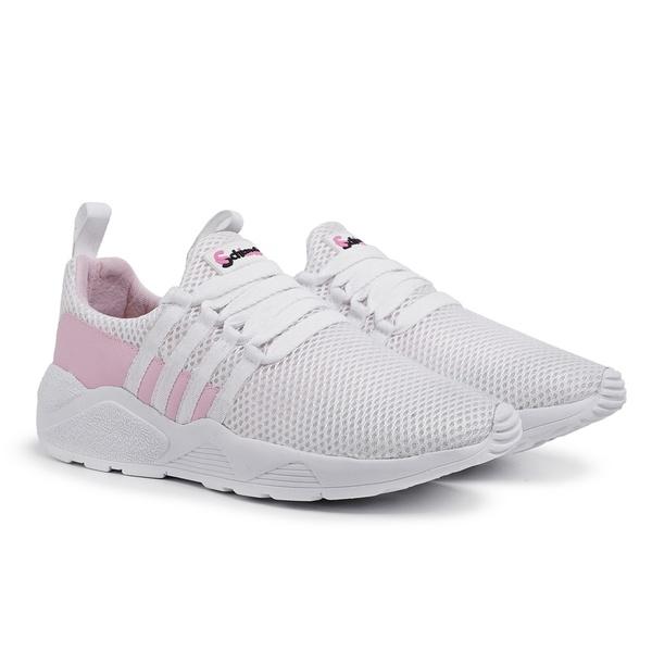 Tênis Esportivo Feminino Branco-Rosa 490