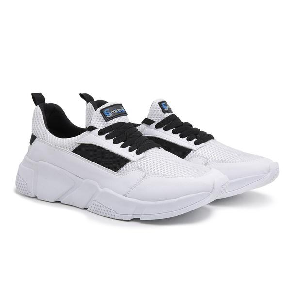 Tênis Esportivo Masculino Branco-Preto 550